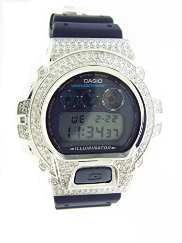 df50280223f Men Casio G Shock High Quality Cz White Crystal Silver Tone Case Watch  Black Face  Amazon.ca  Watches