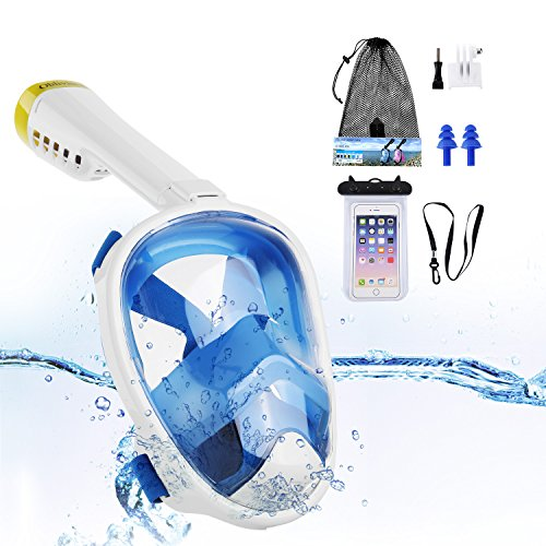 Obliviscar Snorkel Mask, 180° Panoramic Full Face For Adults And Kids Anti -Fog Anti - Leak Technology See More With Larger Viewing Area Than Traditional snorkeling mask.