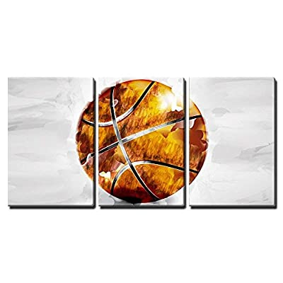 3 Piece Canvas Wall Art - Vector - Basketball Ball in Watercolor Style - Modern Home Art Stretched and Framed Ready to Hang - 16