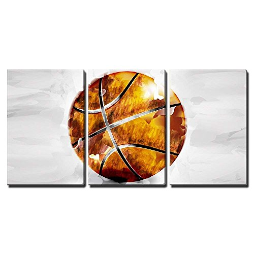 - wall26 - 3 Piece Canvas Wall Art - Vector - Basketball Ball in Watercolor Style - Modern Home Decor Stretched and Framed Ready to Hang - 16