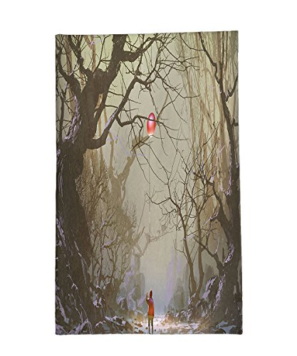 Child Brown Dwarf Costumes (Interestlee Fleece Throw Blanket Fantasy Art House Decor Boy Looking Up Red Balloon Stuck on Tree Branch in Foggy Forest Picture Brown)