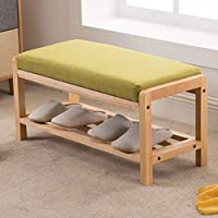 Zzaini Bamboo Shoe Stool Large Capacity Bench Storage Shoe Rack Linen Upholstered Padded Seat Space-Saving-B 78x34x38cm