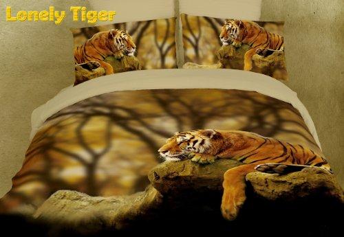 Dolce Mela DM458K Lonely Tiger Safari Themed Duvet Cover Set, (Dolce King Comforter)