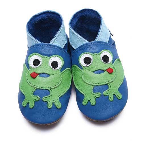 Inch Blue - 1785 S - Chaussures Bébé Souples - Frog - Bleu / Vert - T 17-18 cm