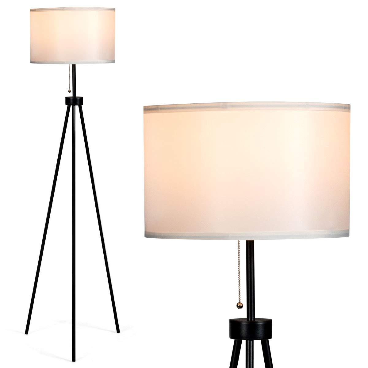 Tangkula 60.5 Metal Tripod Floor Lamp, Contemporary Minimalist Standing Floor Light with Iron Legs, Fabric Drum Shade, E26 Lamp Base, Mid Century Modern Reading Light for Living Room, Bedroom