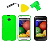 Phone Cover Case Cell Phone Accessory + LCD Screen Protector Guard + Extreme Band + Stylus Pen + Yellow Pry Tool For Straight Talk Tracfone NET10 Motorola Moto E XT830C (Green)