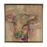 Boston Warehouse Hand Embellished Canvas Art, Newsprint Collage with Cow, 14''x14