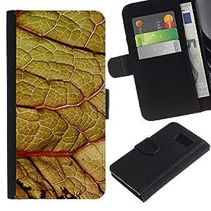 KingStore / Leather Etui en cuir / Samsung Galaxy S6 / Hoja Cerrar zoom Green Nature ?rbol Bosque