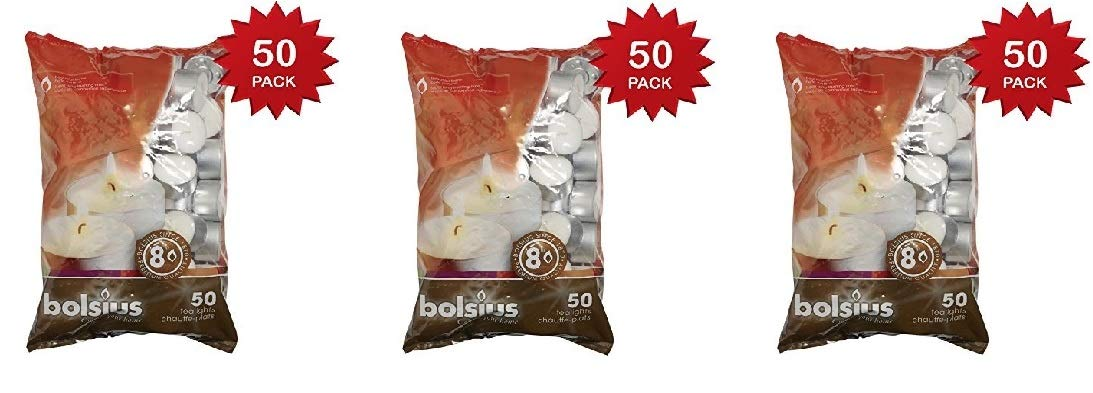 BOLSIUS 103630519700 Tealight, Paraffin Wax, White, Pack of 50 8 Hour Tealights (3 Sets)