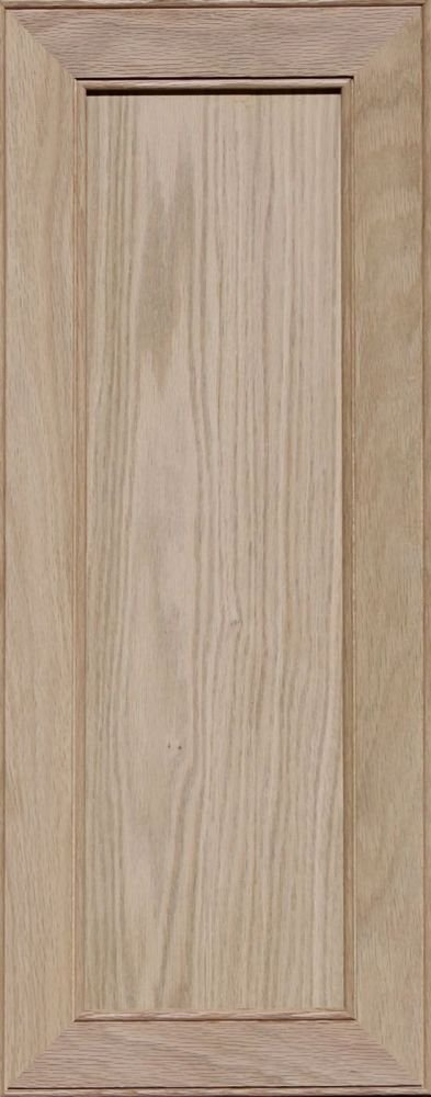 Unfinished Oak Mitered Flat Panel Cabinet Door by Kendor, 28H x 11W