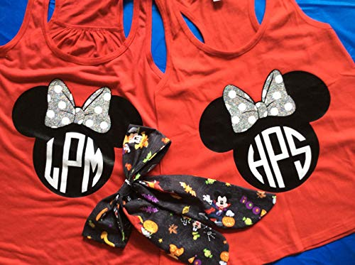 Handmade Disney Minnie & Minnie Me, Mickey's Not So Scary Halloween Party,mother/daughter shirts]()