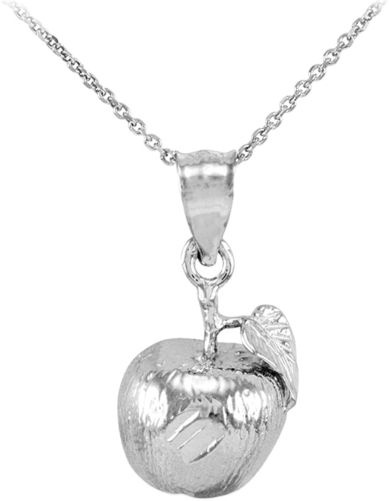 925 Sterling Silver Leaf and Fruit Charm High Polish Apple Pendant Necklace