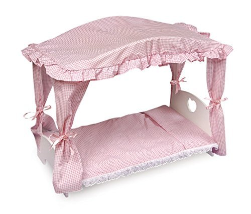 Badger Basket Canopy Doll Bed with Bedding (fits American Girl dolls) by Badger Basket ()