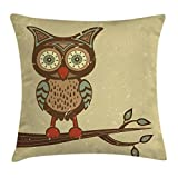Ambesonne Animal Throw Pillow Cushion Cover, Cute Owl Sitting on Branch Eyesight Animal Humor Pastel Retro Modern Art, Decorative Square Accent Pillow Case, 16 X 16 Inches, Brown Cream Red Teal