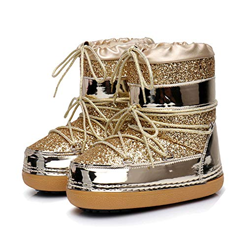 (Meet- fashion Winter Ankle Boots Women Shoes Plus Size Casual Shoes Platform Non Slip Bling Lack Up,Gold)