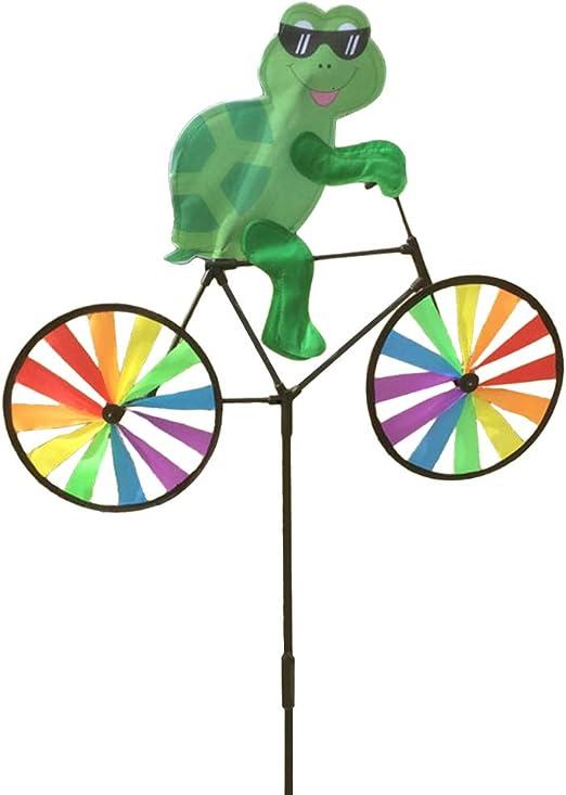 Haven Shop molinillo de viento 3D con diseño de animal en bicicleta, decoración de jardín y jardín, molino de viento con rueda de arcoíris, molinillo de viento: Amazon.es: Hogar