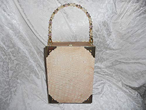 Cigarbox Purse, Neutral Embossed Croc Leather, Tina Marie Purse Purse, Vintage