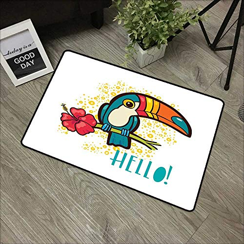 (Bathroom Door mat W24 x L35 INCH Hello,A Tropical Hello from Hawaiian Island Ramphastidae Toucan Bird with Hibiscus Flower,Multicolor Non-Slip, with Non-Slip Backing,Non-Slip Door Mat Carpet)
