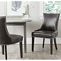 Safavieh Mercer Collection Lester Dining Chair, Antique Brown and Espresso, Set of 2