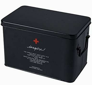 SupShop Botiquín, Medicina Almacenamiento Kit, Caja de Medicina del Hogar, Caja de Almacenamiento de Medicamentos,Caja metálica de Primeros Auxilios con asa Lateral - Metal,Black,L: Amazon.es: Salud y cuidado personal