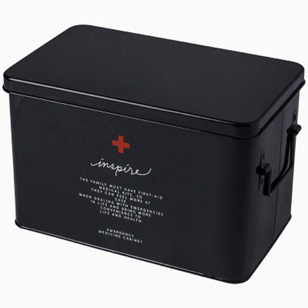 SupShop Cassetta di Pronto Soccorso Portatile Scatola di Medicina Cassetta di Pronto Soccorso in Metallo con Maniglia Laterale Metallo,Black,M Scatola di Immagazzinaggio della Medicina