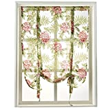 NAPEARL 1 Piece Tie Up Curtain Rod Pocket Short Balloon Organza Burnout Sheer Valance Kitchen Green Summer Floral Design (42″ Wx63 L)