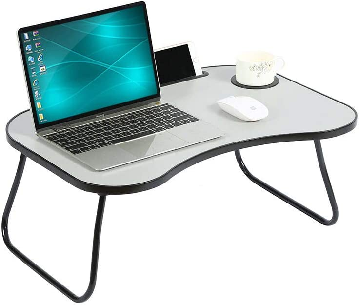 HOME BI Laptop Table Portable Standing Desk, Foldable Sofa Breakfast Tray, Notebook Stand Reading Holder, Bed Writing Desk with Cup Holder, Pen & Phone Holder, Grey