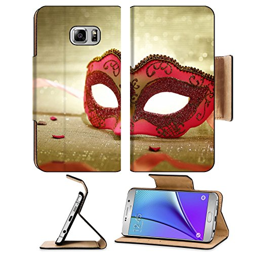 MSD Premium Samsung Galaxy Note 5 Flip Pu Leather Wallet Case Note5 IMAGE 25314906 Vintage pink carnival mask
