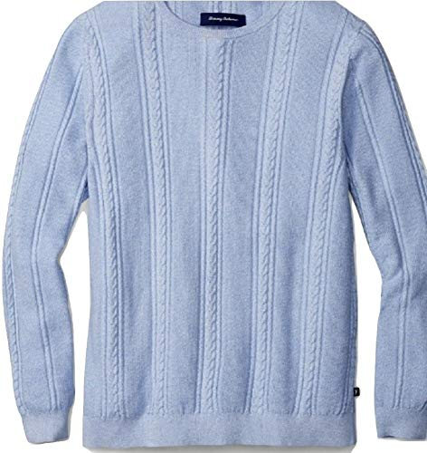 Tommy Bahama Marled Sands Cable Crewneck Sweater (Color: Beachcomber Blue, Size XXL) (Mens Cable Crewneck)
