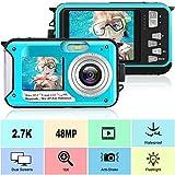 Waterproof Camera Underwater Camera Full HD 2.7K 48 MP Video Recorder Selfie Dual Screens 16X Digital Zoom Waterproof Digital Camera for Snorkeling