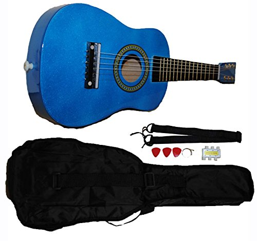 (Mini Kids Acoustic Toy Guitar Kit Gig Bag + Picks + Strap + Tuner (Glitter Blue))