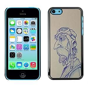 Piloto Bosquejo del gráfico del hombre del bigote- Metal de aluminio y de plástico duro Caja del teléfono - Negro - iPhone 5C