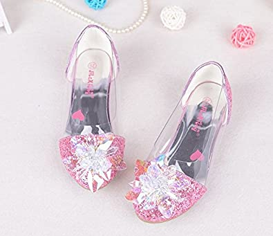 Veribuy Kids Girls Princess Shoes Sequin Sandals with Bowknot Girls Dance Shoes