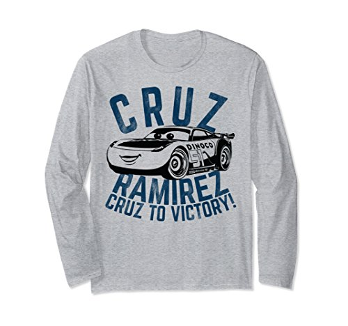 Unisex Disney Pixar Cars 3 Cruz Ramirez To Victory Long Sleeve Tee Medium Heather Grey (Disney Cars Shirts For Adults)