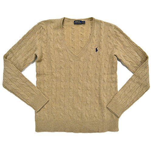 Polo Ralph Lauren Womens V-Neck Merino Wool Blend Sweater (X-Small, Dark Beige)