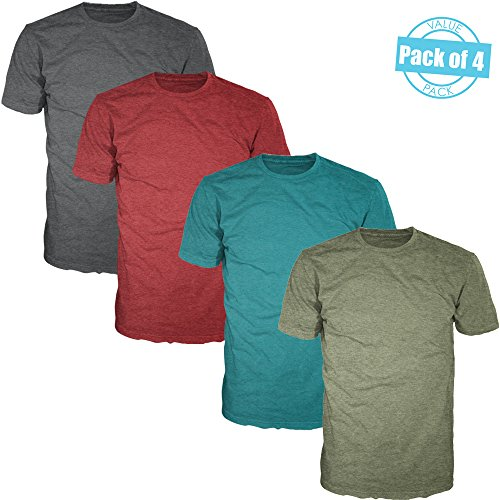 Basic Plain Crewneck Heather T-Shirts for Men (Value Pack of 4) Heather Multicolor (A) Pack, (Mens Basic Crewneck T-shirt)
