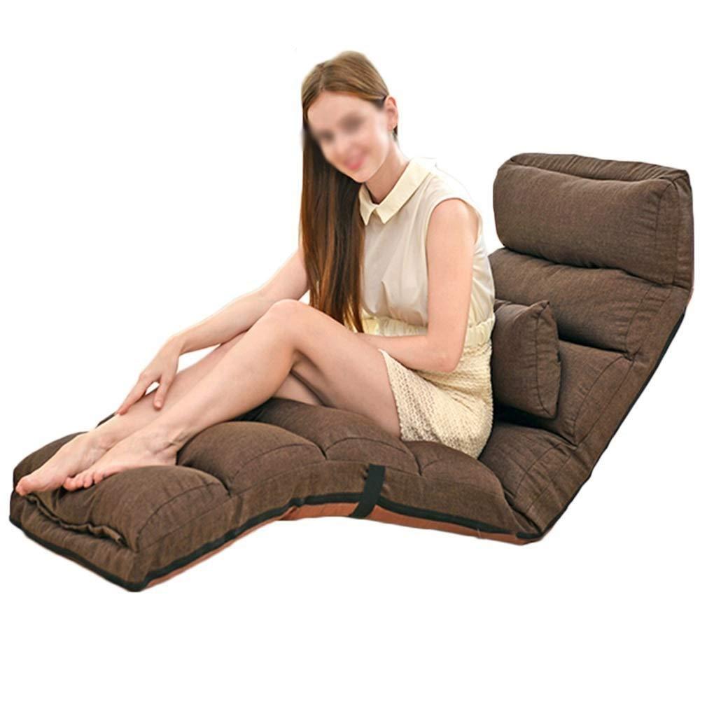 QING MEI 怠惰なソファフロアチェア調節可能なベンチシート、バックサポート3アングル折りたたみ瞑想チェア、屋内フロア出窓の読書に適して (色 : Brown) B07QJ51S11 Brown