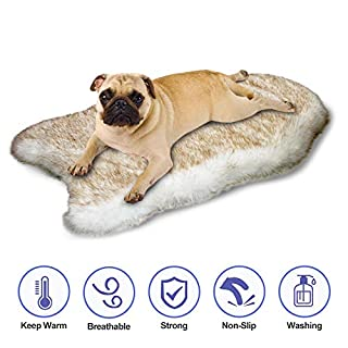 · Petgrow · Thick Faux Fur Pet Dog Bed Mat for Small Dog Cat, Ultra Soft Warm Plush Puprug Pet Bed Cushion, Pet Bed Mattress Blanket Carpet Rug for Dogs Cats,Beige