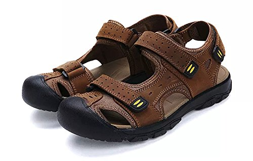 - Asifn Athletic Slides Sandals Sport Men's Summer Beach Leather Hiking Closed Toe Anti Collision Travel (12 M US,29 cm Heel to Toe Yellow