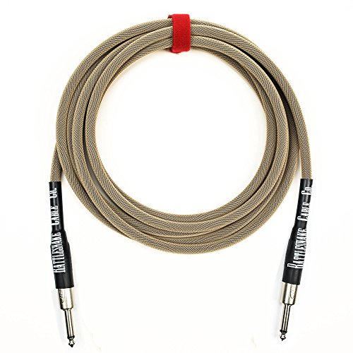 Rattlesnake Cable - 10 Foot Standard Dirty Tweed Instrument Cable Straight to Straight 1/4-inch (Standard 100 Guitar Instrument Cable)