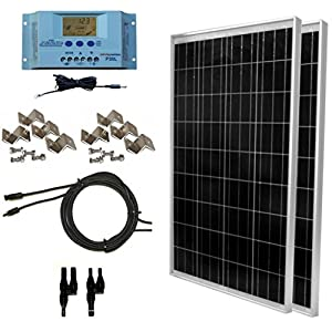 WindyNation-200-Watt-Solar-Panel-Complete-Off-Grid-RV-Boat-Kit-with-LCD-PWM-Charge-Controller-Solar-Cable-MC4-Connectors-Mounting-Brackets
