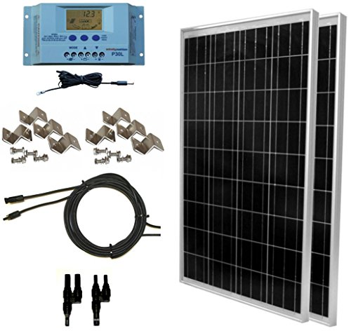 WindyNation 200 Watt Solar Panel Kit: 2pcs 100W Solar Panels + P30L LCD PWM Charge Controller + Solar Cable + MC4 Connectors + Mounting Brackets for Off-Grid RV Boat