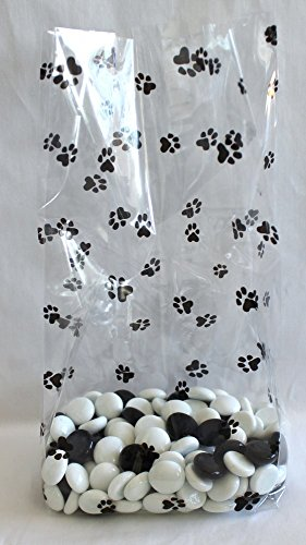Paw Prints Cello Party Favor Treat Bags 5'' x 3'' x 11 1/2'' Pack of 25 by Magical Times 808