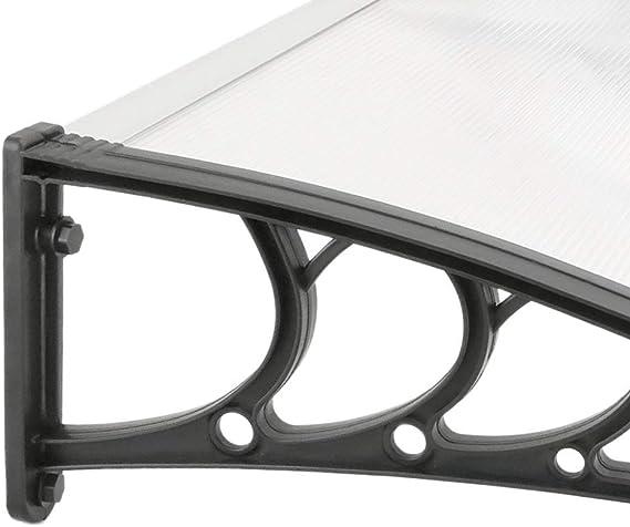 Auvent de Porte et fen/êtres 120 x 80 cm Marquise Solaire abri banne entr/ée Protection avec Support en Acier Noir PrimeMatik