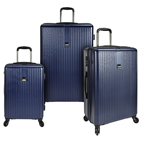 U.S. Traveler Sparta 3-Piece Super Lightweight Hardside 4-Wheel Spinner Luggage Collection with Diamond Cut Texture Finish & Combination Lock, Navy (21