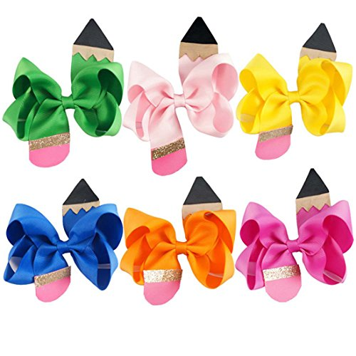 Price comparison product image Ez-sofei Girls Bow Pencil Shaped Hair Barrette Accessory(Pack of 6)