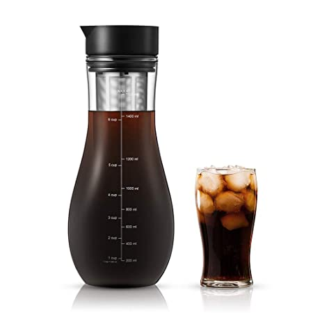 Cold Brew Coffee Maker – Coffee Genie Iced Coffee Maker w Mason Jar and Stainless Steel Filter for Ice Coffee, Iced Tea and Fruit Water Infuser 64oz , clear