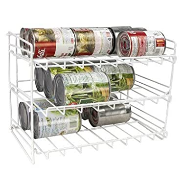 Home Basics Supreme Metal 3-Tier Can Rack Organizer Holder, White