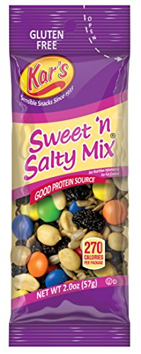 Kar's Sweet 'N Salty Trail Mix 2 oz Single Serving Bags - Satisfying Snack of Peanuts, Sunflower Kernels, Raisins & Chocolate Gems (72 Pack) ()