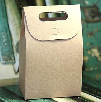 50 Cajas de cartulina kraft con asa - 300 g. Para confites, bolsitas, productos de panadería: Amazon.es: Hogar